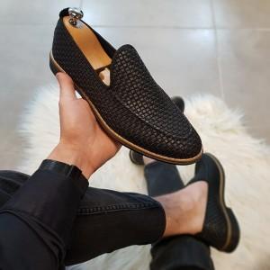 Siyah Kareli Ayakkabı - OLD 4021