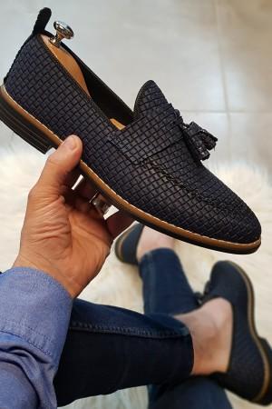 Lacivert Kareli Ayakkabı - OLD 4002